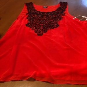 NWOT City Chic red lacy blouse